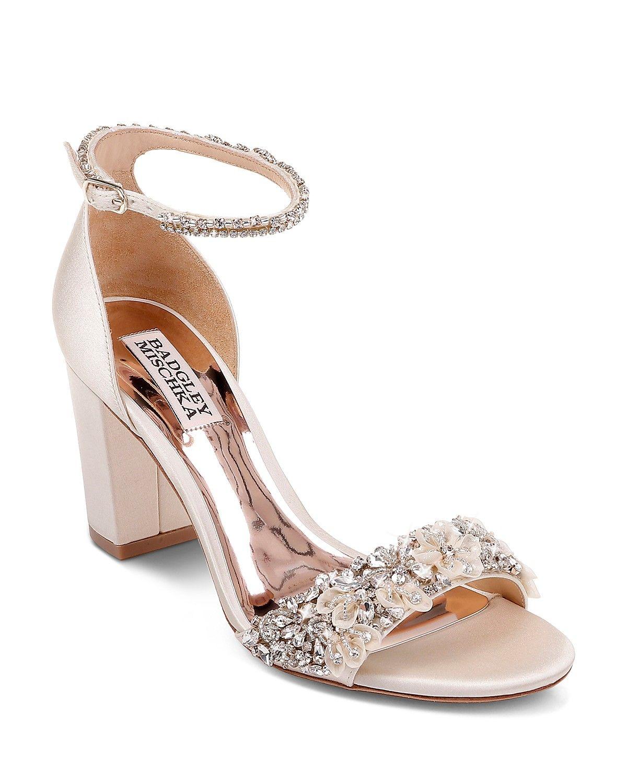 Badgley Mischka Women S Finesse Embellished Block Heel Sandals Shoes Bloomingdale S Bridal Shoes Low Heel Ivory Bridal Shoes Bridal Shoes Flats