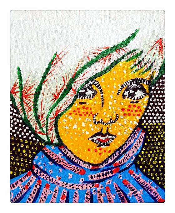 Portrait Acrylic Painting, inspired by Yayoi Kusama