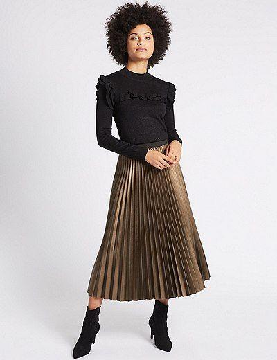 77de3bc14 Pleated Midi Skirt   Marks & Spencer London   Fashion & Beauty ...