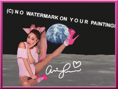 """Great eye-catcher for your home: ARIANA GRANDE on the Moon!  Signed with her original autograph! New from USA  in mint condition! 40x30 cm (15.75""""x11.81"""") Questions? SMS me:  (+ 49-151) 2094-9859"""