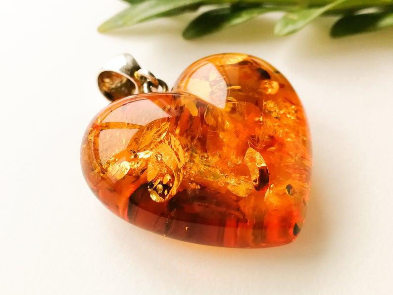 Natural Baltic Amber Honey Pendant Heart