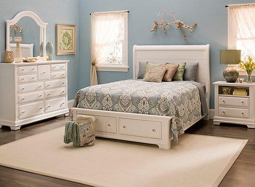 Cottage Pc Queen Platform Bedroom Set W Storage Bed Bedroom