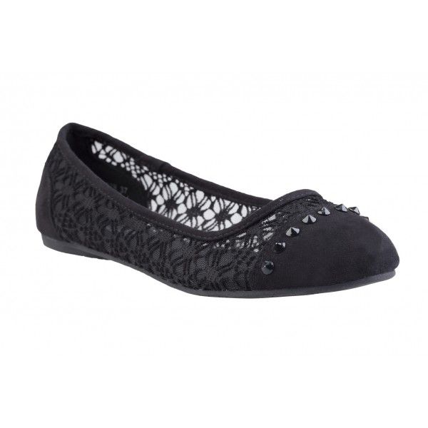 Czarne Koronkowe Baleriny Ccc Fashion Polki Shoes