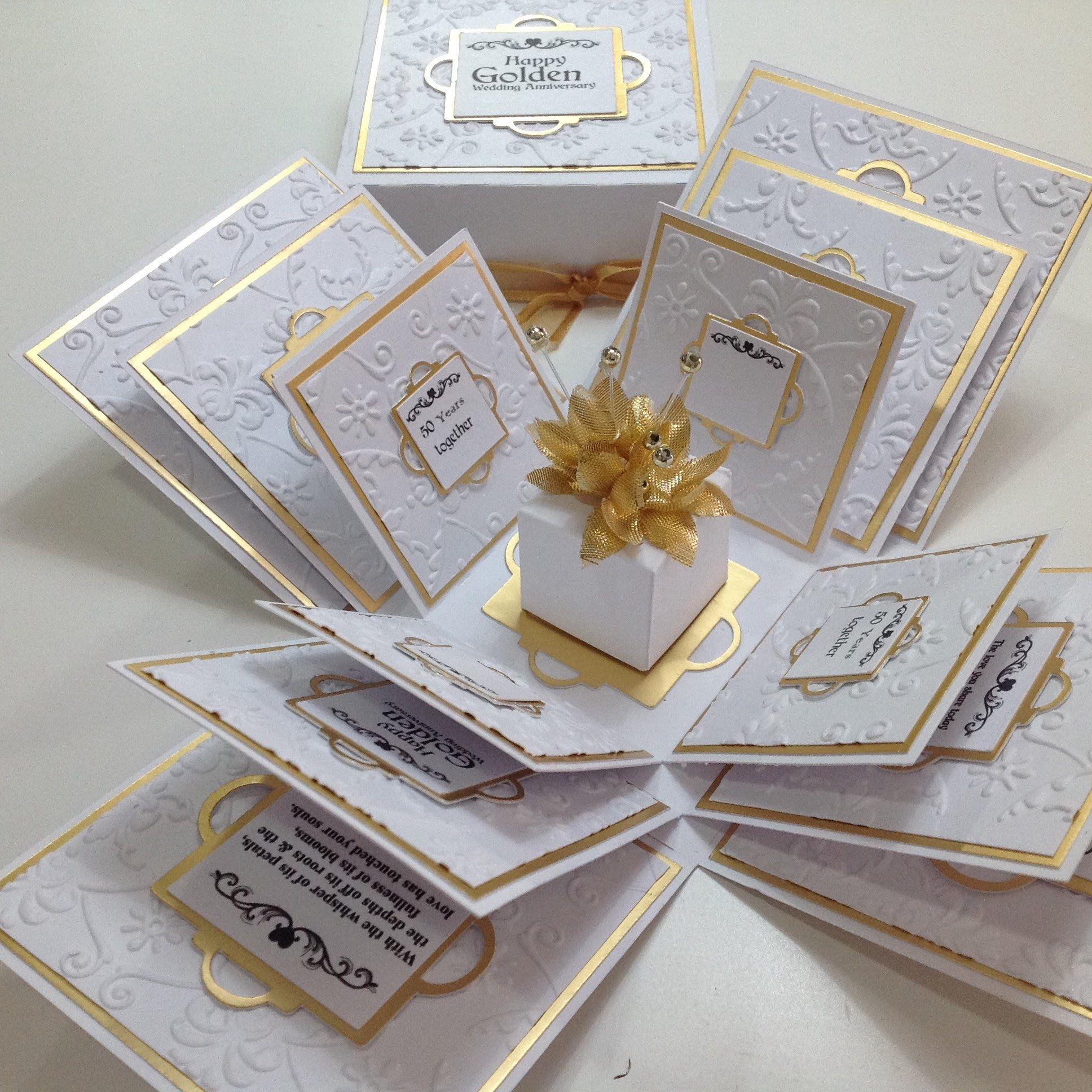 Exploding 50th GOLDEN Wedding Anniversary Box Card