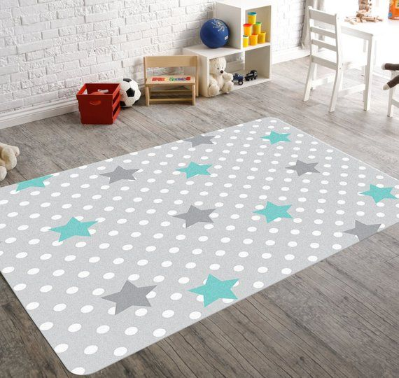 Playroom Rug Star Decorations Kids Rugs Childrens Rugs Gray Rug
