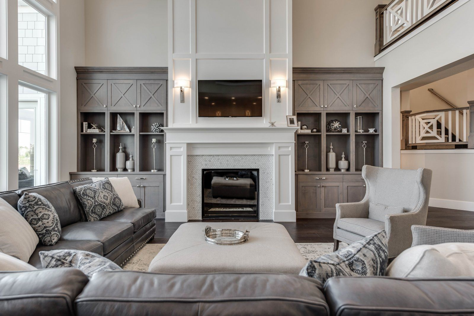 salt lake parade of homes rooms home  house  living room Living Room with Fireplace Design Ideas grey living room with white fireplace