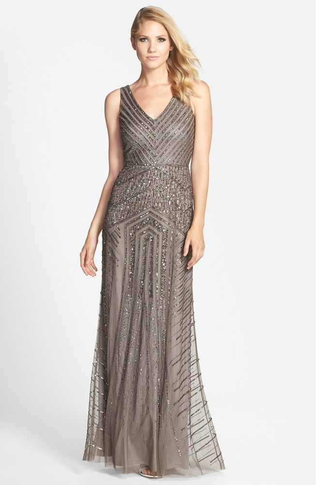 Adrianna Papell Silver Art Deco Sleeveless V-neck A-Line Beaded Gown ...