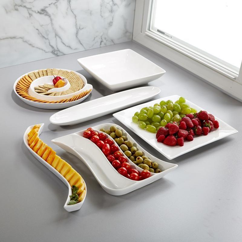 Set of 6 White Porcelain Rectangular Serving Plate Dishes Tray Kitchen Platter