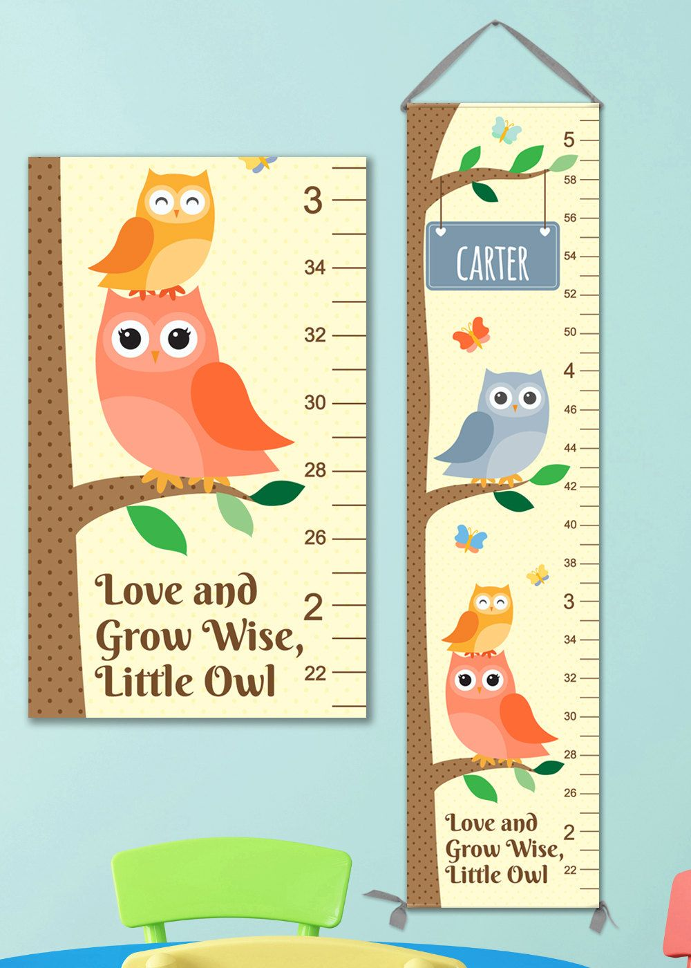 Owl Growth Chart Boy  Perfect For Woodland Nursery Or Owl Nursery