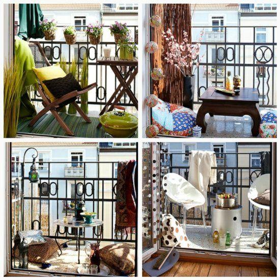 Kleinen Balkon Sommerlich gestalten Möbel Laterne Sitzkissen - balkonmobel fur kleinen balkon ideen
