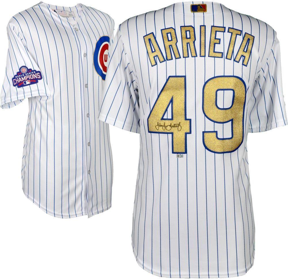 293db1fad Jake Arrieta Cubs Signed Majestic Gold Replica Jersey - Fanatics ...