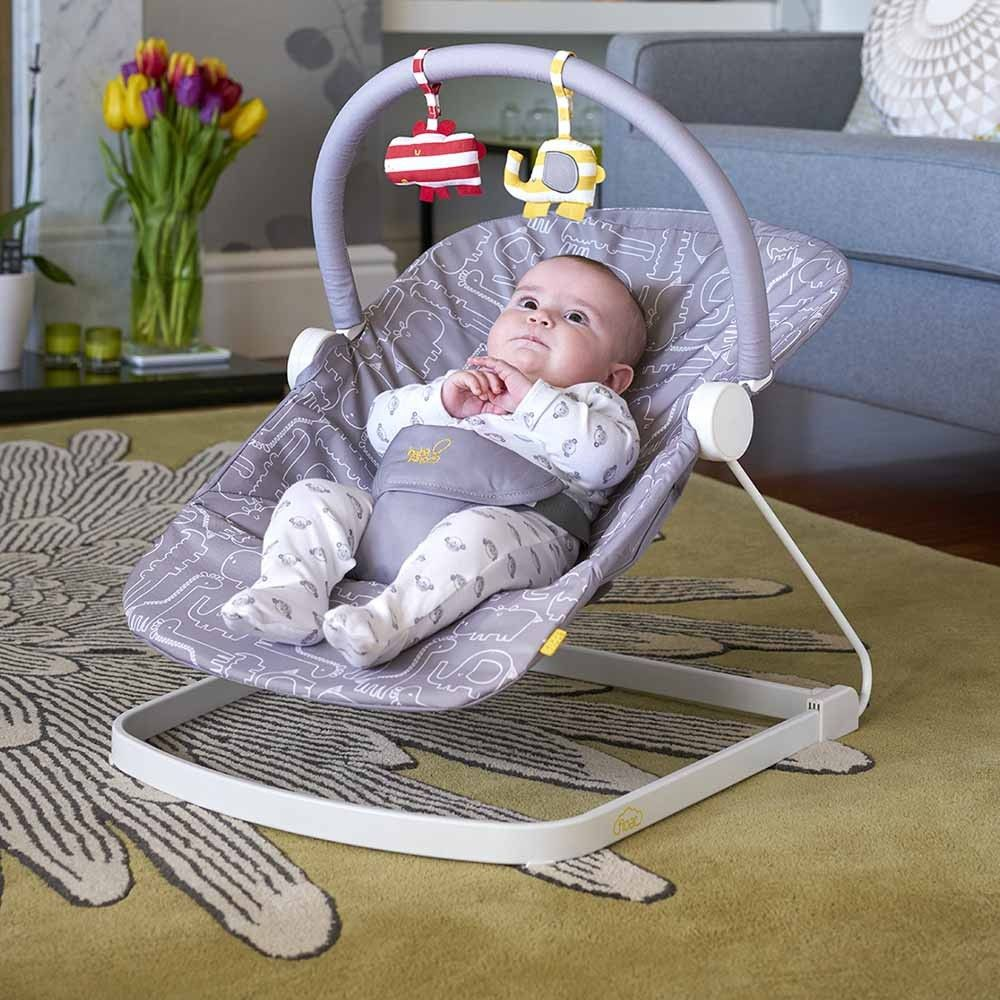 The bababing float baby bouncer in greywhite is a cool designed