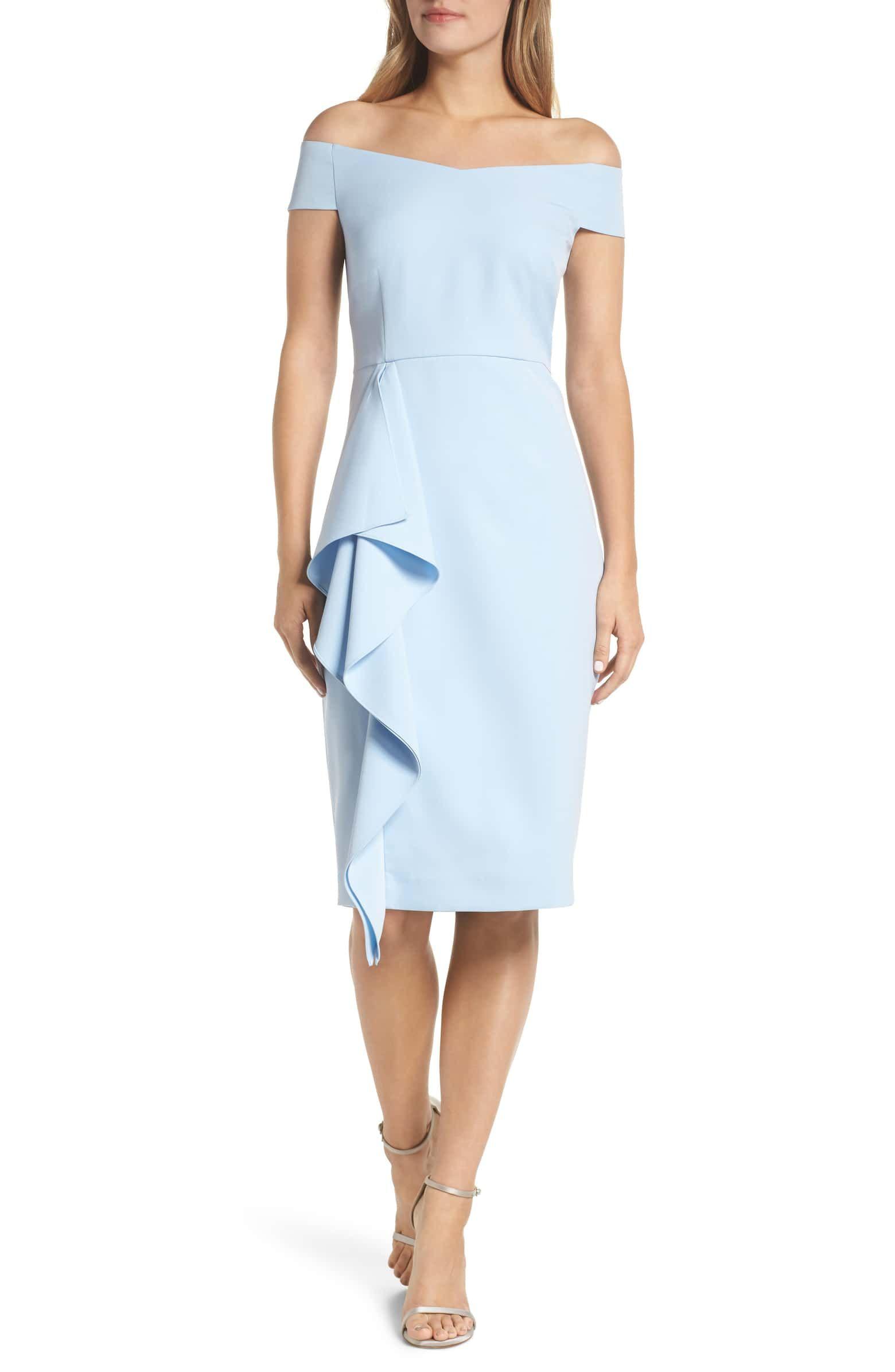 18c3953a1056d VINCE CAMUTO Off the Shoulder Front Ruffle Cocktail Dress, Main, color,  LIGHT BLUE
