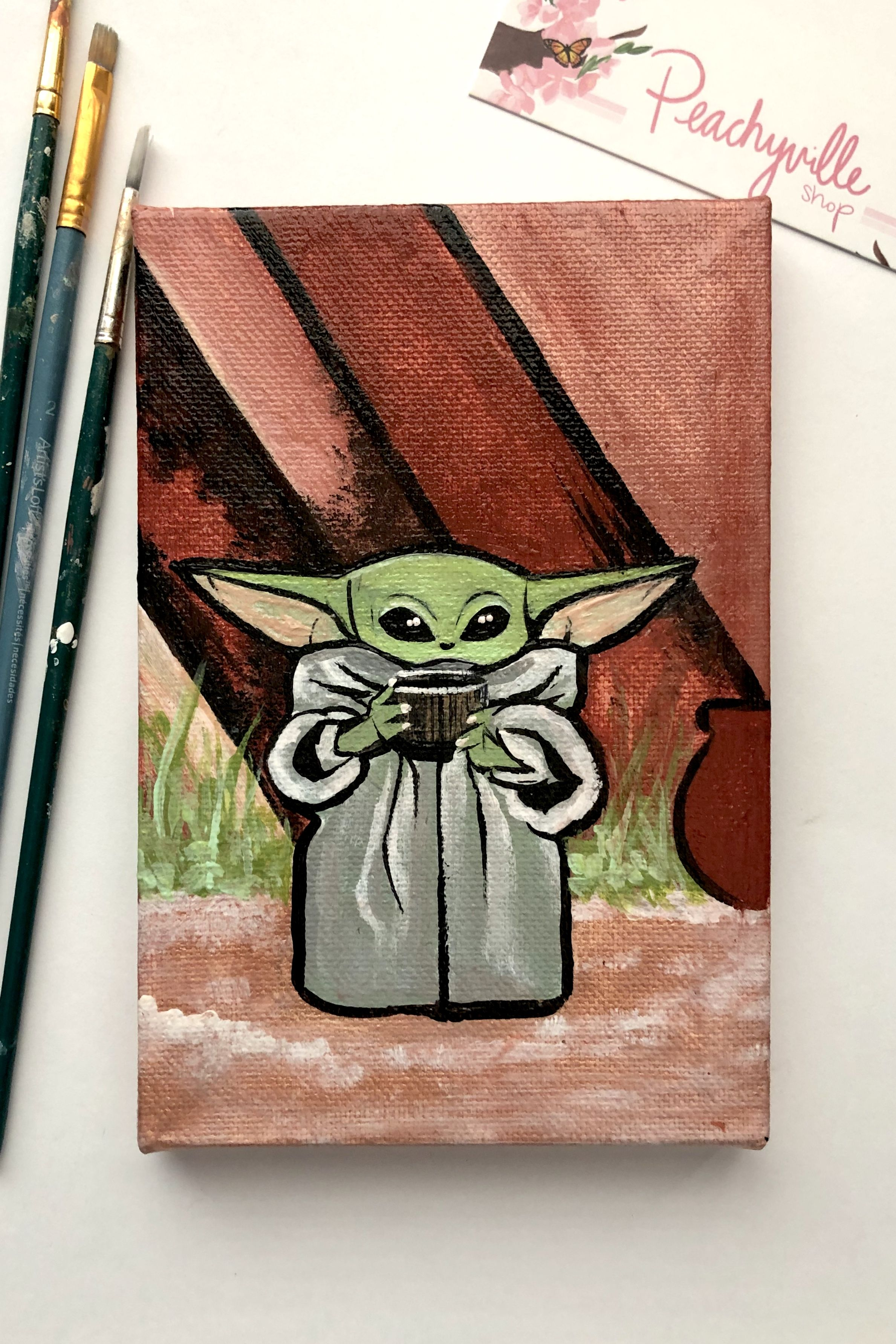 Baby Yoda Painting The Mandalorian Star Wars Art Mini Canvas Art Art Star Wars Art