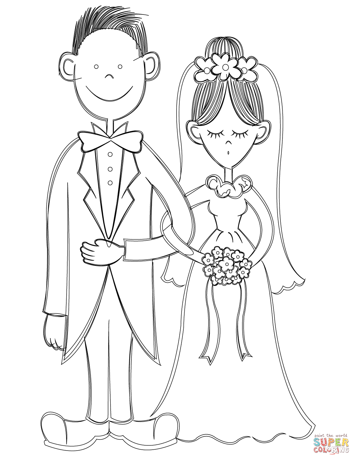 Bride And Groom Coloring Page Free Printable Coloring