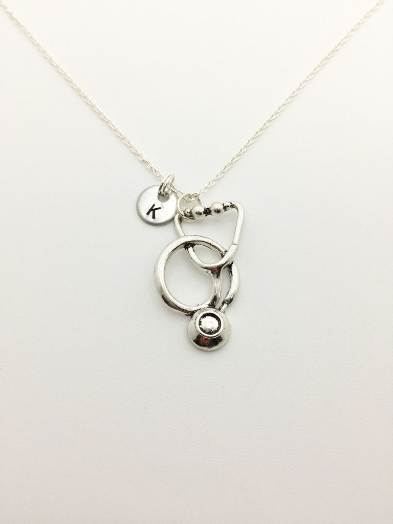 Stethoscope necklace with initial nurses pinterest med student stethoscope necklace with initial aloadofball Gallery