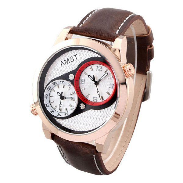 Sale 22% (16.99$) - AMST 3012 Two Dials Leather Band Waterproof Men Sport Watch