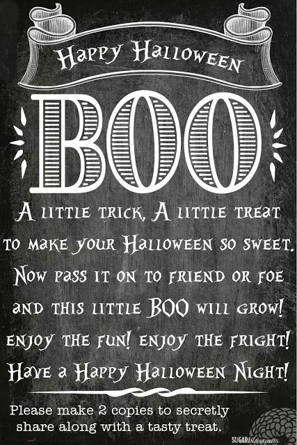 BOO grams!! So much fun!! Print out 2 copies and secretly deliver