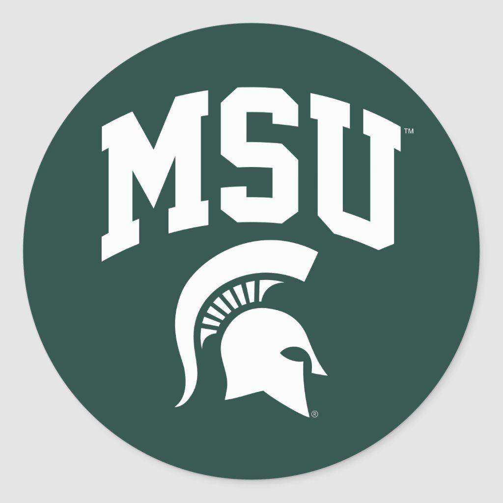 Msu Spartans Classic Round Sticker Zazzle Com In 2020 Msu Spartans Michigan State Logo Spartans [ 1024 x 1024 Pixel ]