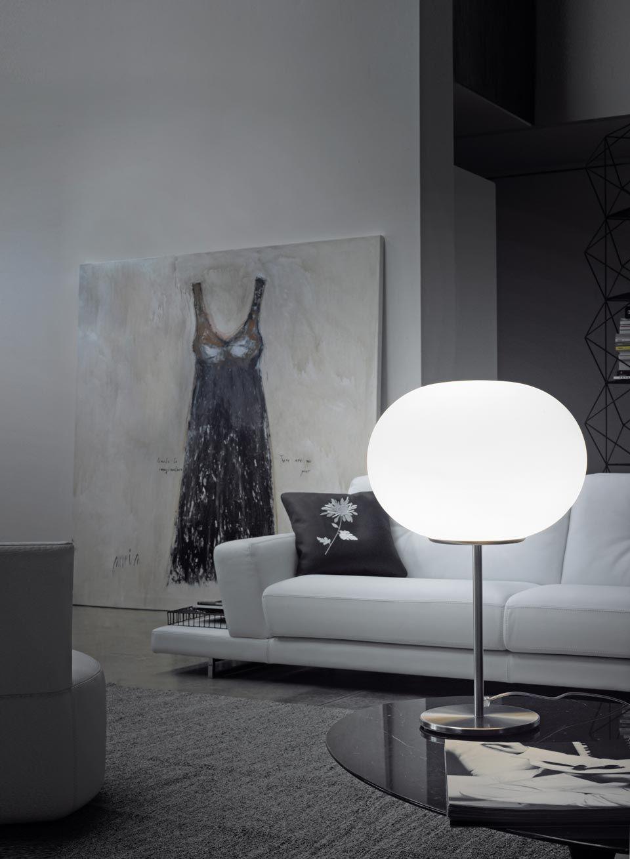 Lampe De Table Boule Blanche Lucciola Vistosi Luminaires En Verre De Murano Ref 19040108 Lampes De Table Luminaire Murano