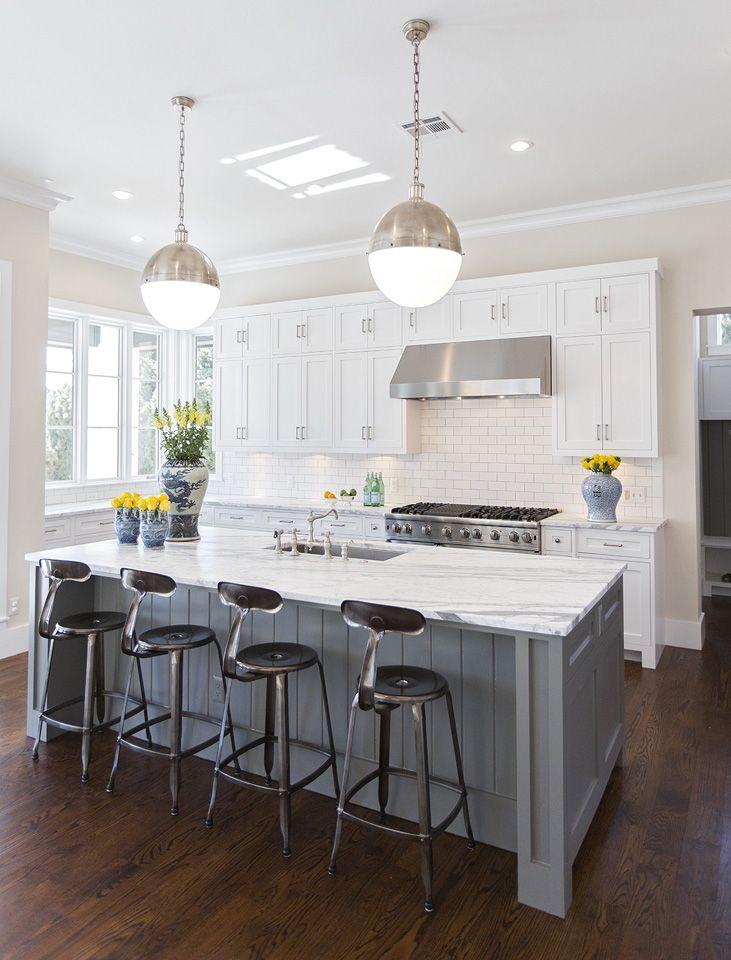 Dark Floors White Cabinets Grey Island White Kitchen Interior