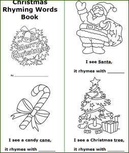 free printable Christmas bookss rhyming words book coloring book