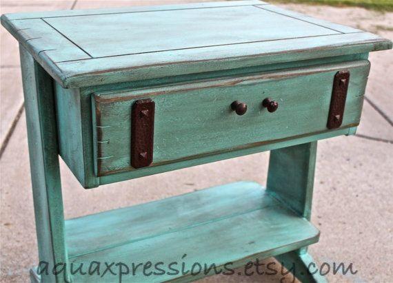 Vintage Aquamarine Night Stand /Distressed Glazed Furniture /Brown Knobs/  Distressed Bedroom Furniture /