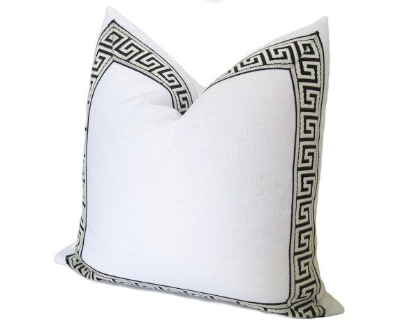 Athena Linen Pillow Cover Greek Key Trim White Black