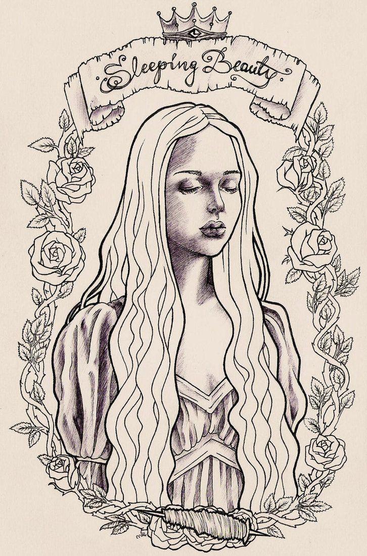 WIP Sleeping Beauty - lineart by HypnoticRose Deviantart