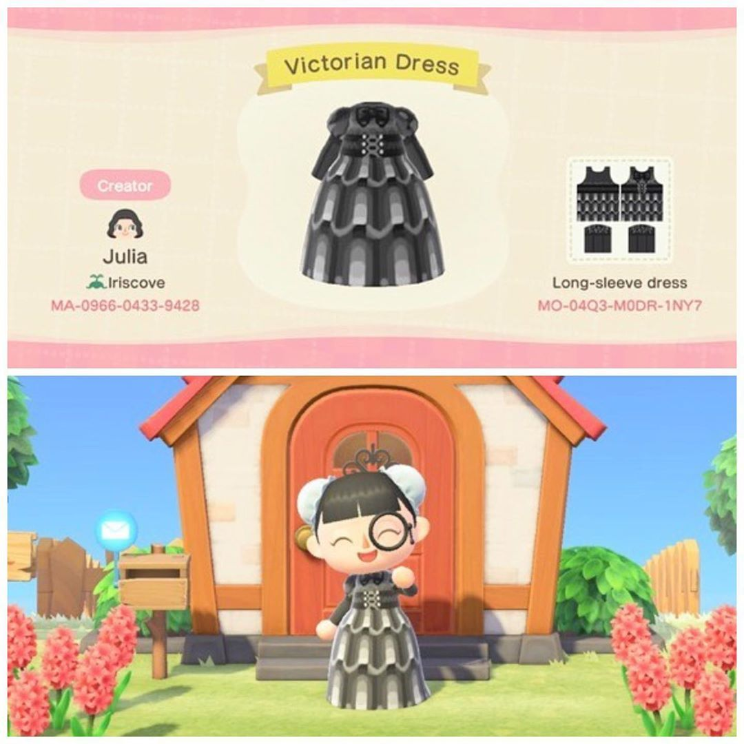 Animal Crossing New Horizon On Instagram Gothic Vibes Dress Check This Custom Victorian Dress Design In 2020 Animal Crossing Game Animal Crossing Animal Crossing Qr