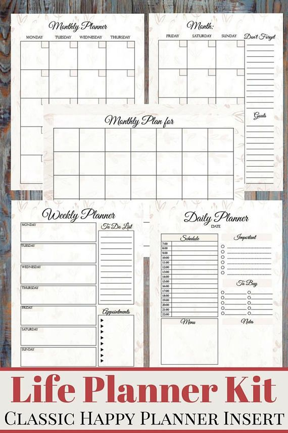 Floral Life Planner Kit Hourly Daily Planner, Weekly Planner