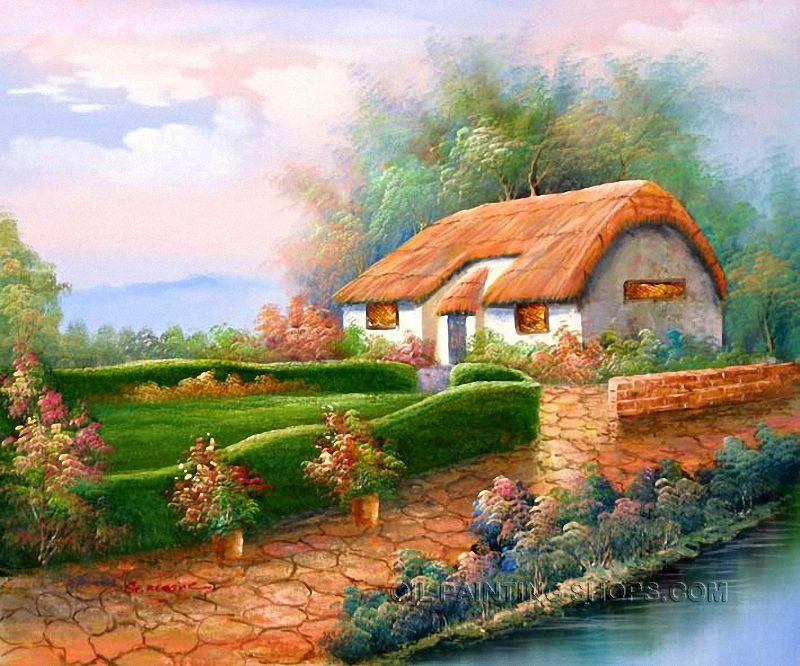Beautiful Large Wall Art Cheap Irish Cottage Oil Painting Size 24 X 20