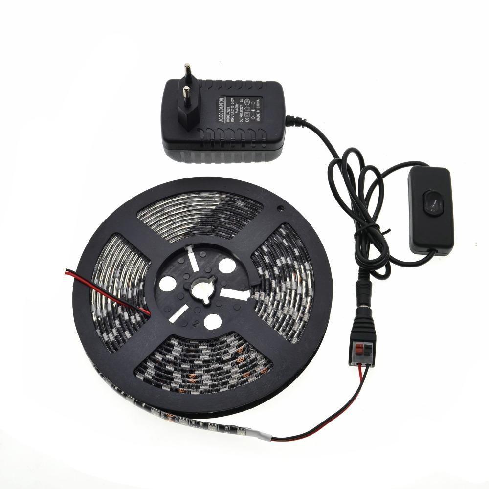 Visit To Buy 5m Black Pcb 5050 Led Strip Light Set Ip20 Ip65 Adaptor Switching 12v 2a