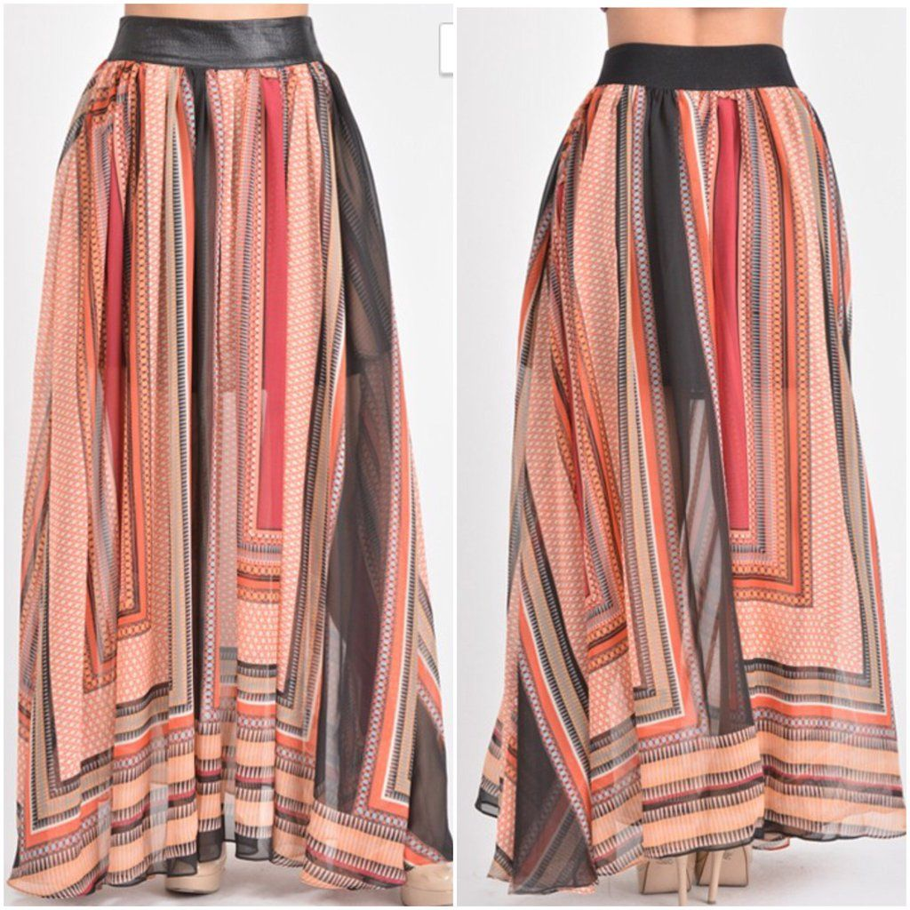 2ffae4ccca New Boutique Faux Leather Waist Band Printed Maxi Skirt With Pockets Size  Large