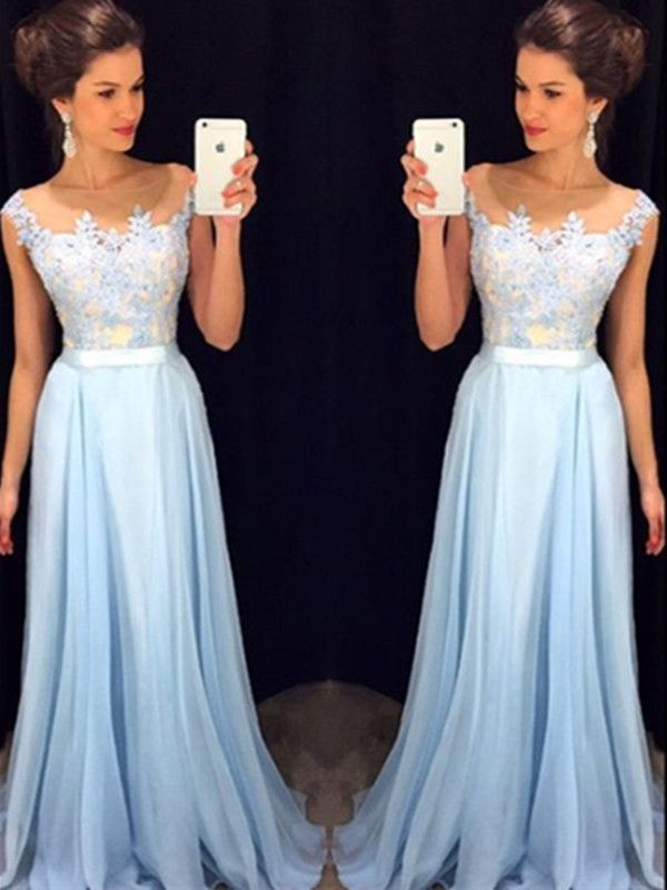 Custom Made A Line Round Neck Light Blue Lace Prom Dress, Long Lace ...