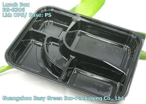 Black Plastic Disposable Bento Box with Compartments EG,8306