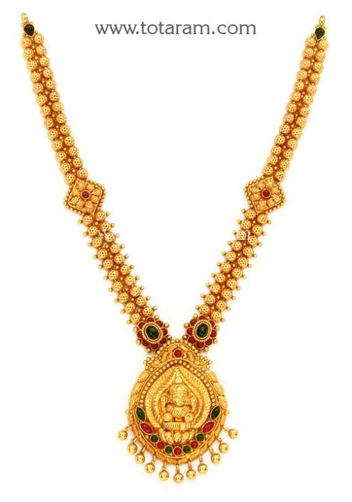22K Gold Lakshmi Necklace Temple Jewellery Totaram Jewelers