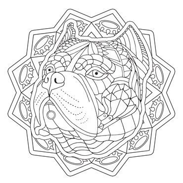 American Bulldog From The Upcoming Decorative Dogs Coloring Book