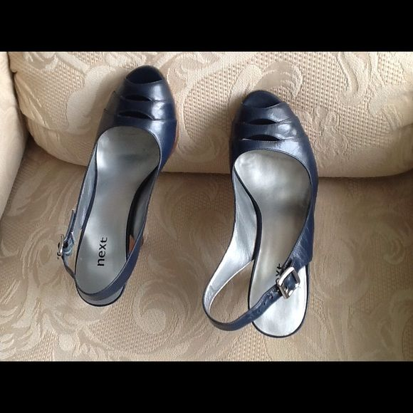 """NEXT SANDALS Navy blue, 3-1/2"""" wooden heels.  Shoes made in the United Kingdom.  Extraordinary workmanship and elegance.  Like new. Worn a few times.  Comfortable , even with the high heels. NEXT Shoes Heels"""