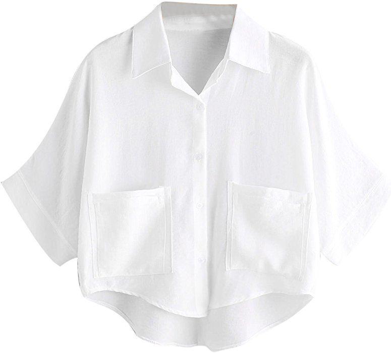 b74fdcc9d0d1d MakeMeChic Women s Summer Half Sleeve Dip Hem Plain Pocket T-Shirt Blouse  Crop Top White One Size at Amazon Women s Clothing store