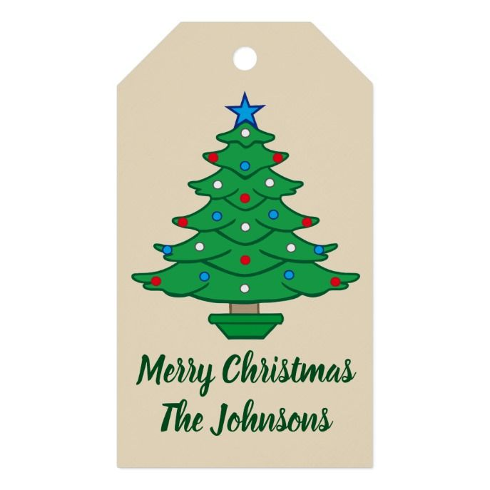 Americana Christmas Tree Red White Blue Gift Tags in 2018