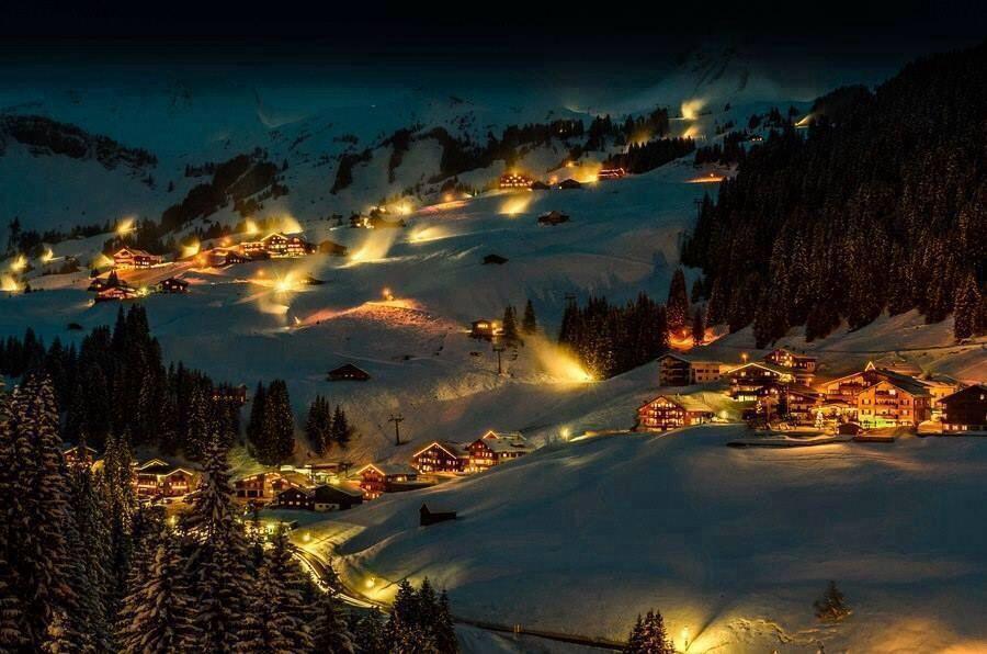 Magical winter night in Austria