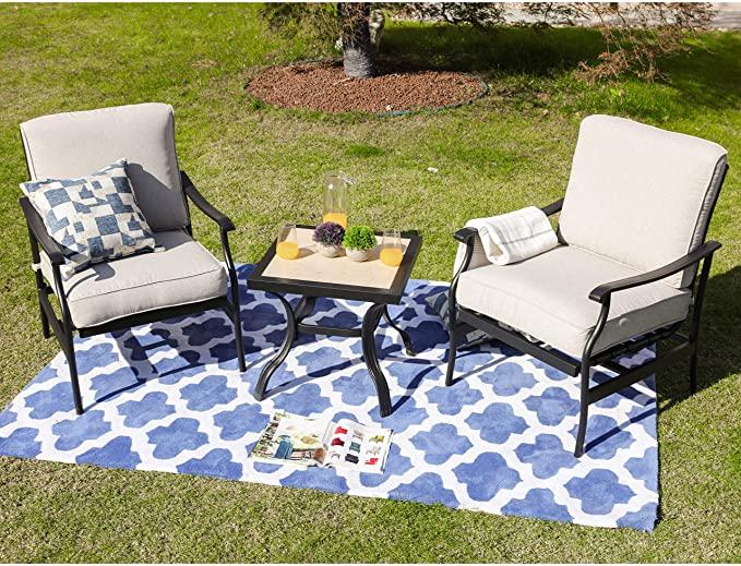 Amazon Com Lokatse Home 3 Seat Metal Patio Loveseat Bench Outdoor Furniture Bistro Set With Outdoor Furniture Sets Patio Dining Set Stylish Outdoor Furniture
