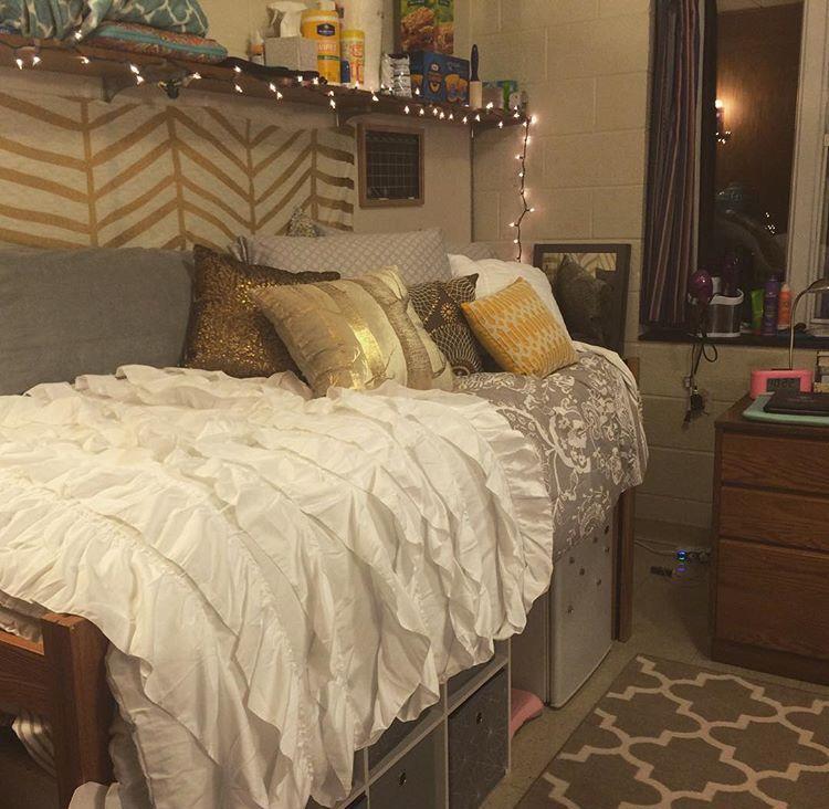 Gold And White Dorm Idea Cozy Dorm Room Dorm Room Bedding Dorm