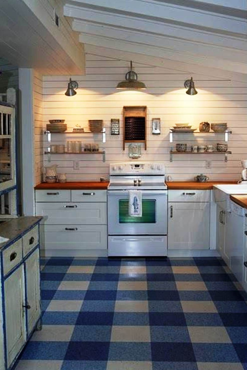 linoleum kitchen flooring beautiful cabinets lino for clever use of three colors makes a buffalo check v