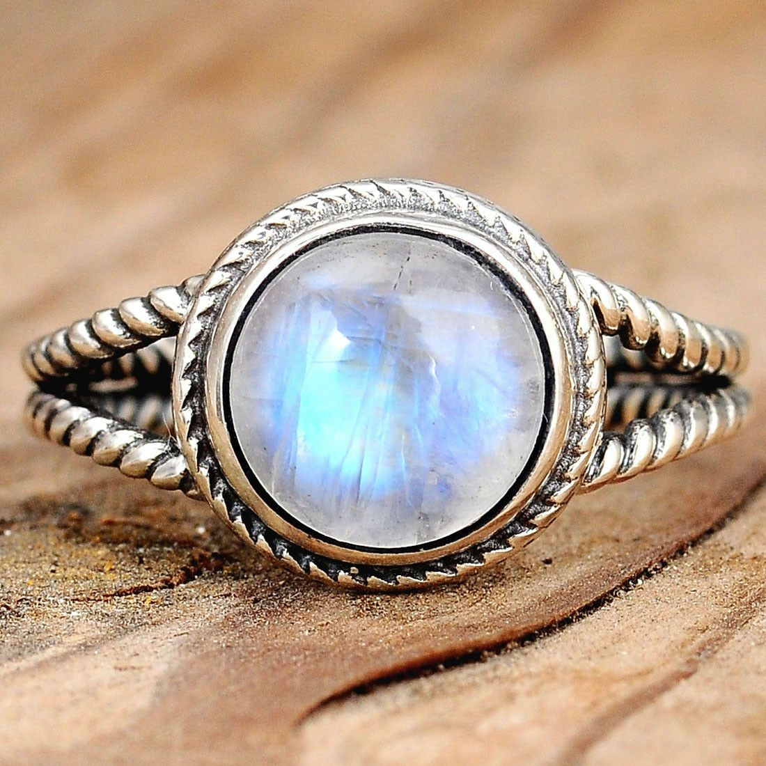 Rainbow Moonstone Size 7 Sterling Silver Ring