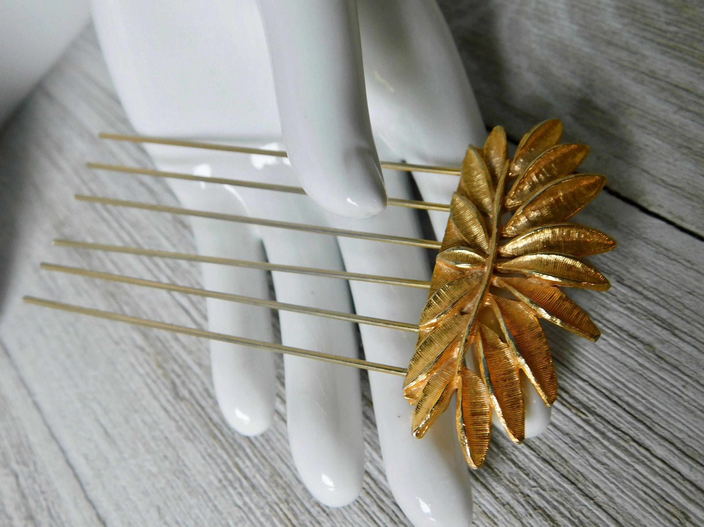Set of 3 Clear Black and Gold leaf Barrettes
