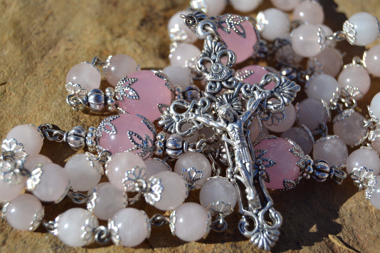 Heirloom Pink Rose Quartz Catholic Rosary | Rose quartz