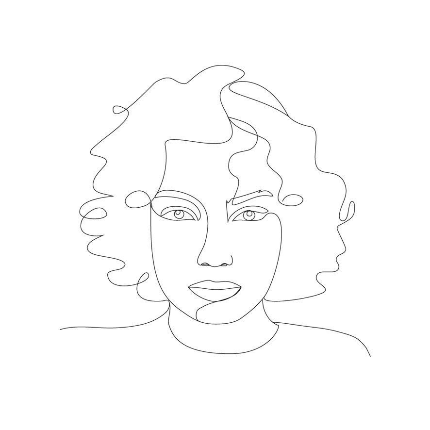 Curly Hair Drawing Lineart Feminite In 2020 Line Art Drawings Line Art Stick Figures