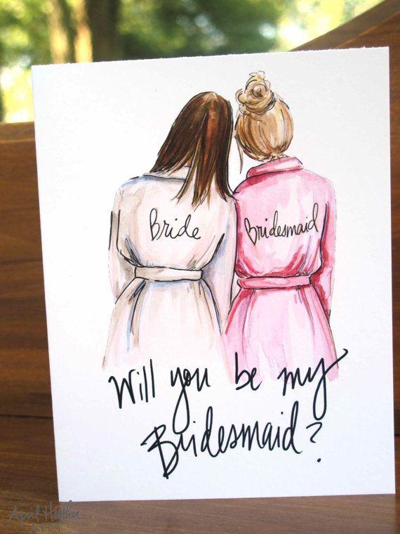 Bridesmaid PDF Download printable cards, brunette bride, blonde